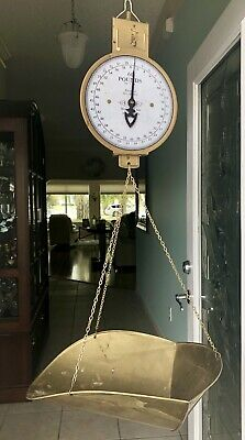 Antique Solid Brass Hanging Produce Spice Scale - Dated 1912 Excellent!