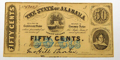 1863 Alabama 50 Cent Note