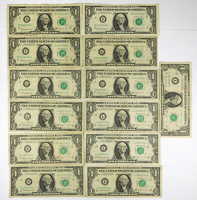 1963B $1 BARR STAR Notes (Lot Of 13 Notes)