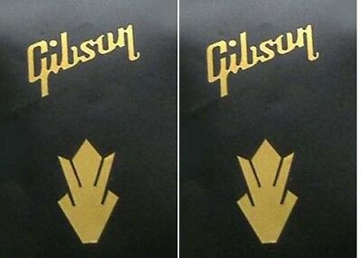 2 x metallic gold vinyl gibson style words & crowns guitar headstock decals
