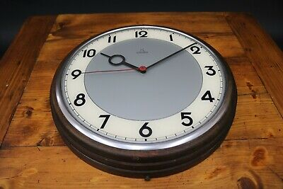 Synchron Wall Clock Industrial Modernist Bauhaus Vintage 1950s Electric TLC