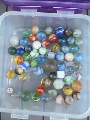 Antique & Vintage Job Lot Collection Of Old Marbles Approx 55