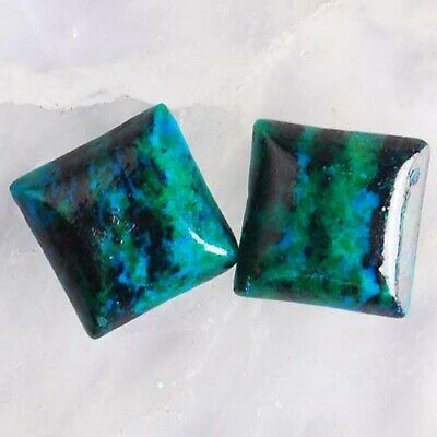 T3519 12x12x3 Pair Lapis Lazuli with Chrysocolla Square CAB Cabochons