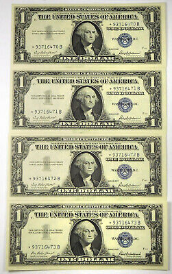 1957 $1 Silver Certificate STAR Notes- 4 Consecutive Notes