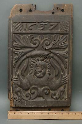 17thC Antique 1637, Figural Folk Art Carved Yew Wood Architectural Fragment, NR