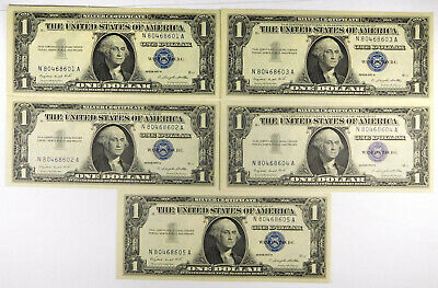 1957A $1 Silver Certificate Notes- 5 Consecutive Notes