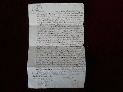 Original 1689 Handwritten Manuscript, Very attractive calligraphy