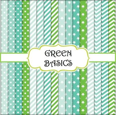 GREEN BASICS SCRAPBOOK PAPER - 16 x A4 pages