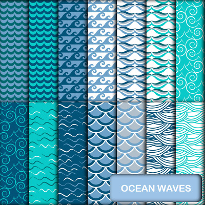 OCEAN WAVES SCRAPBOOK PAPER - 14 x A4 pages.