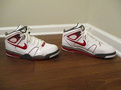 783517234525 Lightly Used Worn Size 13 Nike Air Flight Falcon Shoes White Red Gray Silver