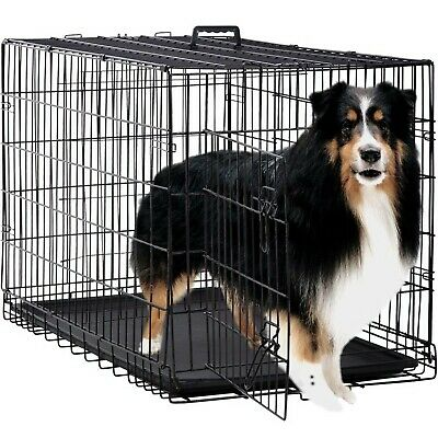 Dog Crate Kennel Pet Cage for Large Medium Dogs Travel Metal Double-Door Fold...