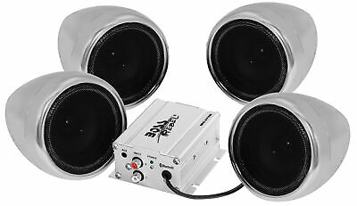 "(4) Boss Audio MC470B 1000w 3"" Bluetooth Speakers+Amplifier For Motocrycle/ATV"