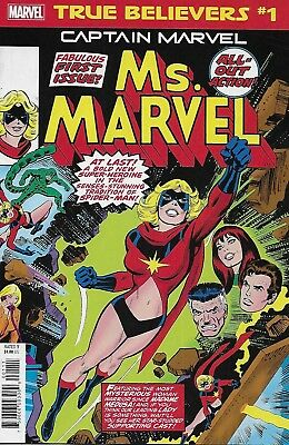 Captain Marvel Comic Issue 1 Classic Reprint True Believers 2019 Conway Buscema