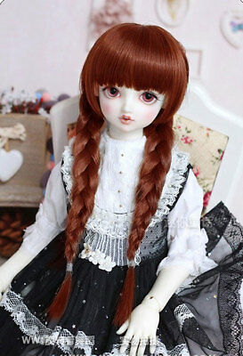 "7-8/"" 1//4 BJD Doll Straight Medium Long Wig Hair Golden Brown Smooth UAL-e"