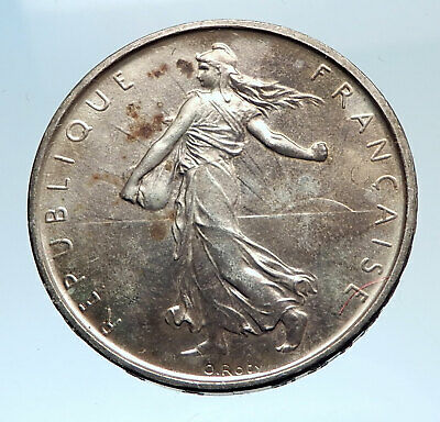 1965 FRANCE French LARGE with La Semeuse SOWER WOMAN Silver 5 Francs Coin i74342