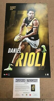 Daniel Rioli Richmond Tigers Hand Signed Official Afl Print Martin Cotchin Rance