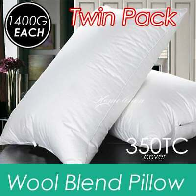 2 x Ultra Loft Australian Wool Blend Pillows with Pure Cotton Cover 48x73cm