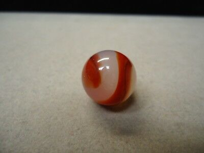 Vintage Akro Agate Translucent white & Red Corkscrew Marble 11/16 Mint -