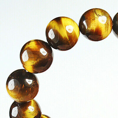 201.1Ct 100% Natural African Tigereye Yellow Bead Bracelet BHY1317