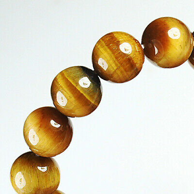 208.5Ct 100% Natural African Tigereye Yellow Bead Bracelet BHY1320