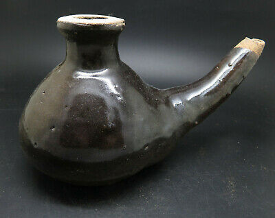 Rare Ancient Greek Pottery Oil Lamp With Black Glaze