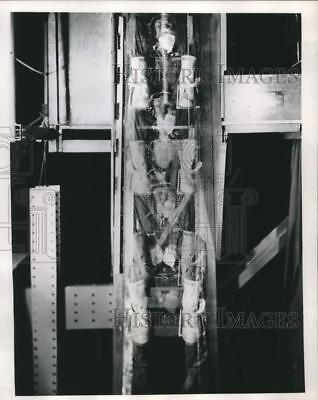 1956 Press Photo US Air Force volunteers test downward ejection seat Wright Base