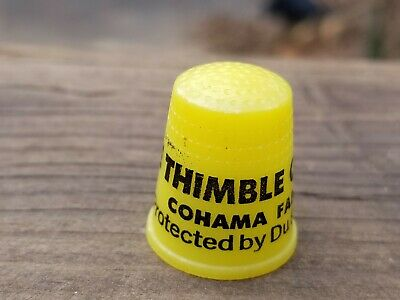 RARE 30s THIMBLE COUTURE CO HALLMARK YELLOW BAKELITE CELLULOID? COHAMA DUPONT