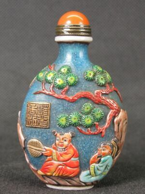 Chinese Two Boy Carved Hand Painted Peking Overlay Glass Snuff Bottle