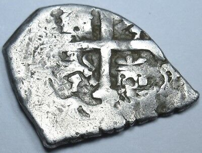 1600s Spanish Silver 1/2 Reales Piece of 8 Real Antique Pirate Treasure Cob Coin