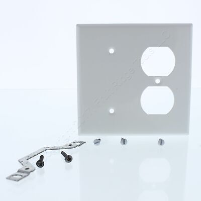 Leviton White Stainless 1-Blank Strap Mount Duplex Outlet 2G Cover Plate 84087-W