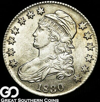 1830 Capped Bust Half Dollar, Choice AU++ Silver Half
