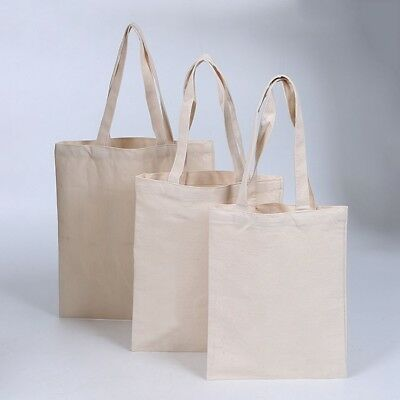 Canvas Shopping Bag Eco-Friendly Reusable Totes Solid Grocery Handbag Purse 1PC