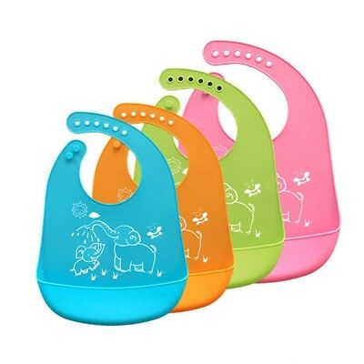 Baby Bib Silicone Waterproof Washable Roll Up Feeding Eating Toddler Soft Bibs