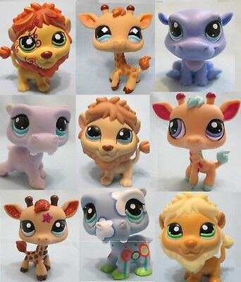 Littlest Pet Shop Set Random Lot of 3 Hippo Giraffe Lion Authentic Surprise Pets
