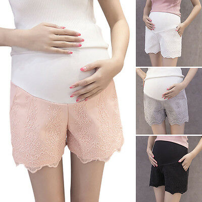 New Maternity Shorts Elegant Pregnant Women Belly Support Adjustable Lace Pants