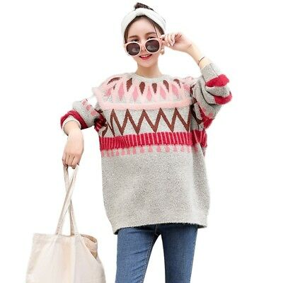 Pregnant Woman Sweater Personalities Striped Pattern Pullover Loose Sweatshirt