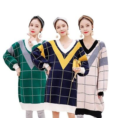 Woman Loose Sweater Checks Pattern Maternity Soft Elastic Warm Long Pullover Top