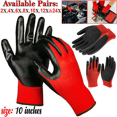 1 to 24 Pairs Latex Coated Mechanic Work Gloves Gardenening Safety Builders Grif