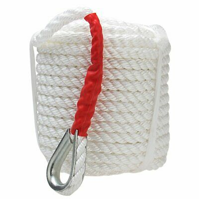 19MM*45M Twisted 3 Strand Nylon Anchor Rope Boat Thimble Braided Dockline