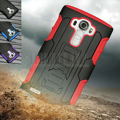 For LG G4 Rugged Rubber Armor Hybrid Hard Holster Case Shockproof Stand Cover