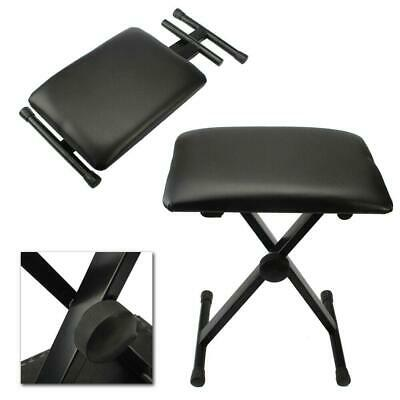 New Folding Piano Keyboard Bench Padded Stool X Seat Chair Adjustable Height