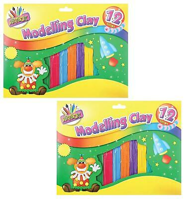 12 Strips Kids Childrens Modelling Clay Plasticine Colourful Art Dough Craft DIY