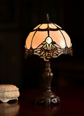 "14.5"" Beige Jewel Carousel Tiffany Leadlight Stained Glass Mini Table Lamp"
