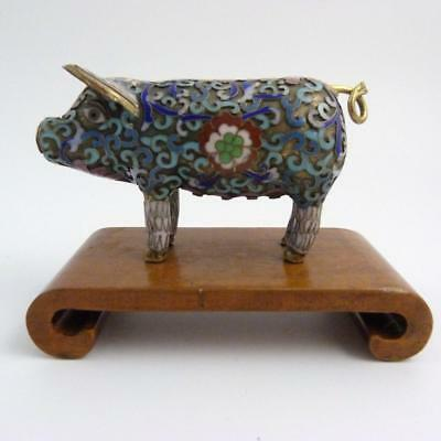 19Th Century Chinese Cloisonne Figure Of Standing Pig On A Scrolled Wooden Stand