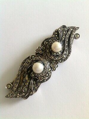Fine Antique French Sterling Silver Marcasite & Cultured Pearl Double Dress Clip