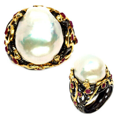 NATURAL 15 X 18mm WHITE BAROQUE PEARL & RED RUBY TWO TONE..925 SILVER RING SZ7.5