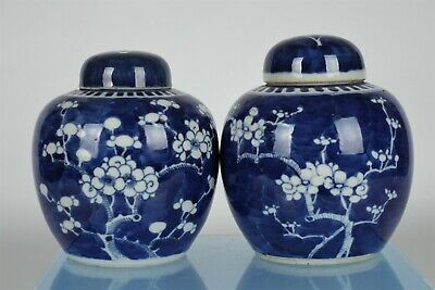 Two Antique Chinese Blue/White Hand-painted Ginger Jars - with mark