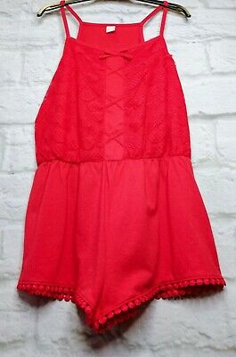 Tu Playsuit Red Lace Jumpsuit Red Summer Beach Bows Lace Playsuit Size 12 yrs
