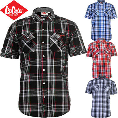 Mens Cotton Shirt Lee Cooper Check Short Sleeve, White Red Size S M L XL 2XL 3XL