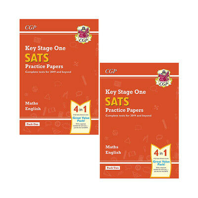 KS1 Maths and English SATS Practice Papers Pack 1-2 By CGP Books Collection Set
